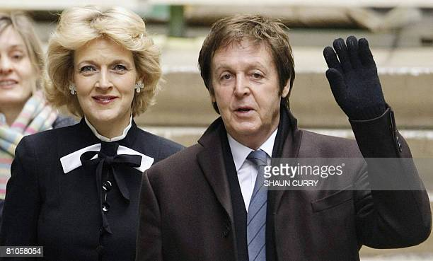 This file picture taken on March 17 2008 in London shows former Beatle Sir Paul McCartney arriving at London's High Court with his legal...