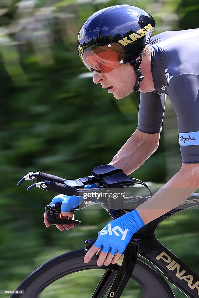 This file picture taken on May 11, 2013 in Saltara shows British Bradley Wiggins riding during the 55,5kms eigth stage of the 96th Giro d'Italia time trial from Gabicce Mare to Saltara.Wiggins, winner of last year's Tour de France, has pulled out of the Giro d'Italia due to illness, his team announced on May 17, 2013 ending a torrid race for the popular Briton.