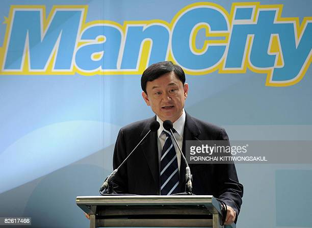 This file picture taken on May 16 2008 in Bangkok shows former Thai prime minister and Manchester City owner Thaksin Shinawatra addressing the...