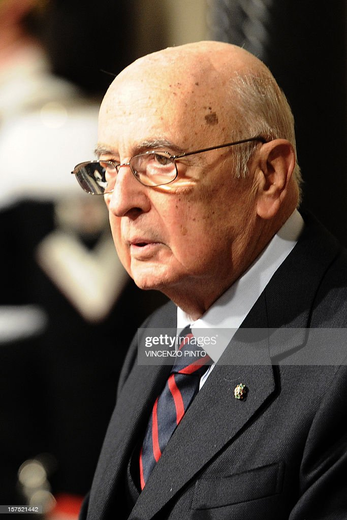 This file picture taken on November 13, 2011 at the Quirinale, the presidential palace, in Rome shows the Italian President Giorgio Napolitano speaking to the press after appointing the new Prime Minister.Italy's highest court examined a complaint on December 4, 2012 over the wire-tapping of the president amid a heated dispute between Napolitano and prosecutors investigating Mafia deals in the halls of power.