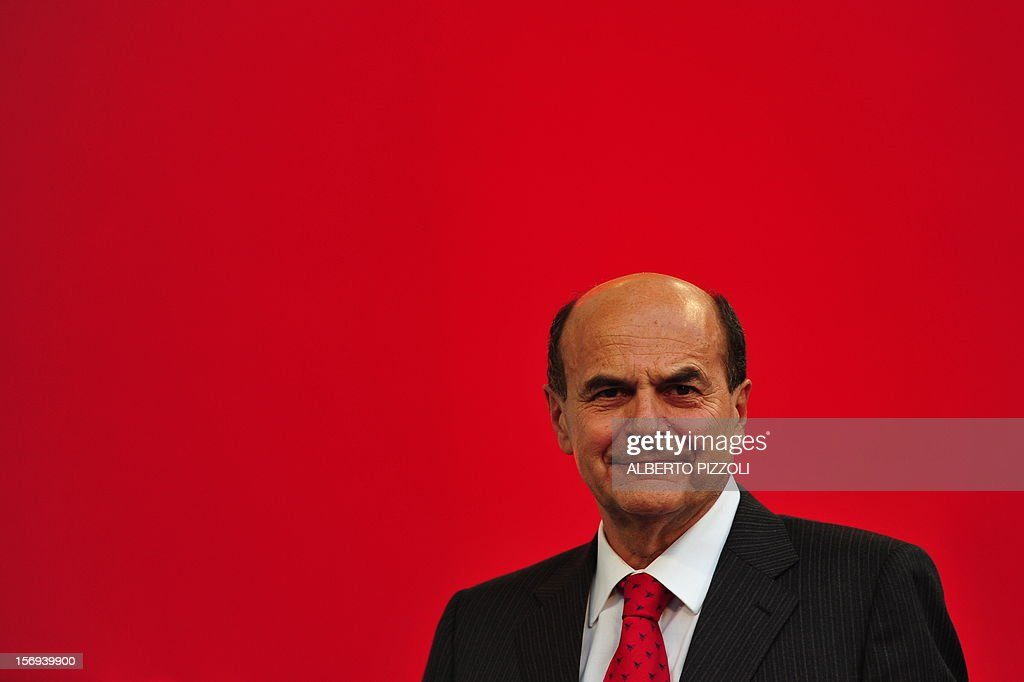 This file picture taken on November 5, 2011 in Rome shows the general secretary of the Democratic Party (PD) Pierluigi Bersani addressing supporters during a demonstration. According to early results, the head of Italy's main centre-left Democratic Party, Pier Luigi Bersani, was set to win a primary vote on November 25, 2012 for the nominee for prime minister but without a majority.