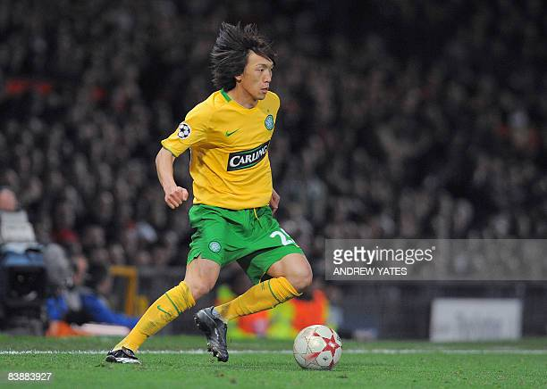 This file picture taken on October 21 2008 in Manchester northwest England shows Celtic's Japanese midfielder Shunsuke Nakamura controlling the ball...
