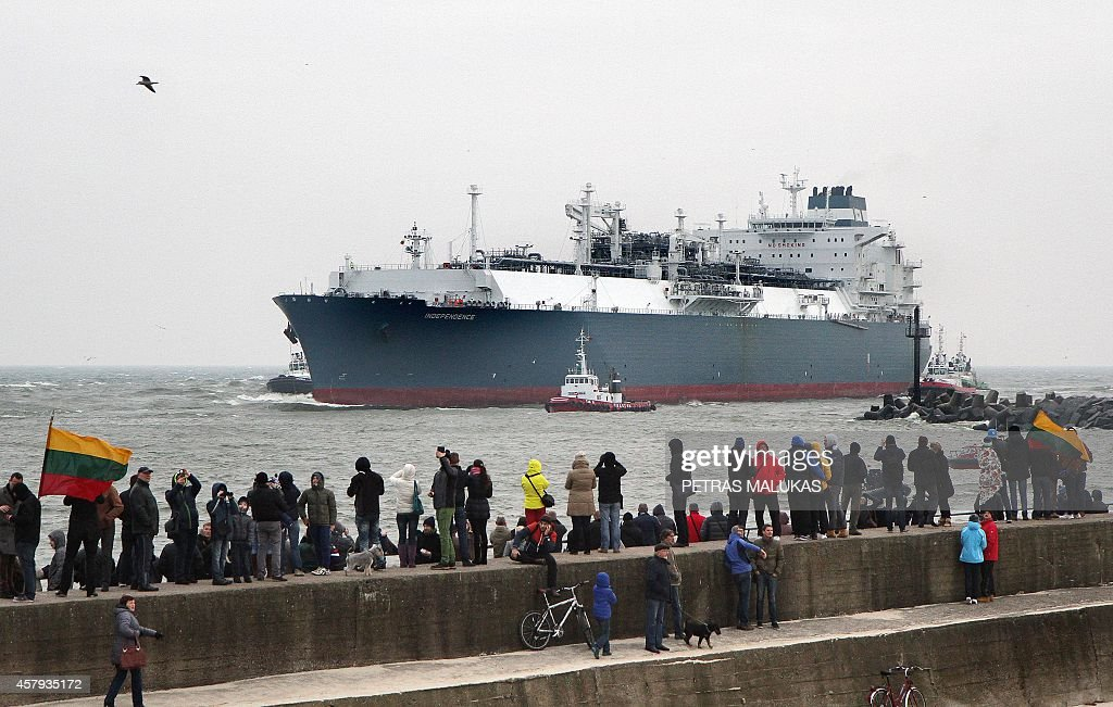 This first liquefied natural gas terminal 'Independence' comes through the sea gate port of Klaipeda on October 27 2014 The terminal is currently the...