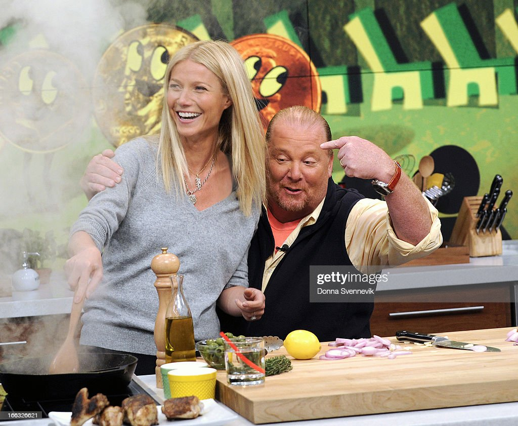"""THE CHEW - This Friday, April 12, 2013, the co-hosts welcome back film star Gwyneth Paltrow who talks about her new book, helps co-host Mario Batali whip up a tasty dish and schools him in a trivia game, """"Roamin' Holiday.' 'The Chew' airs MONDAY - FRIDAY (1-2pm, ET) on the ABC Television Network. BATALI"""