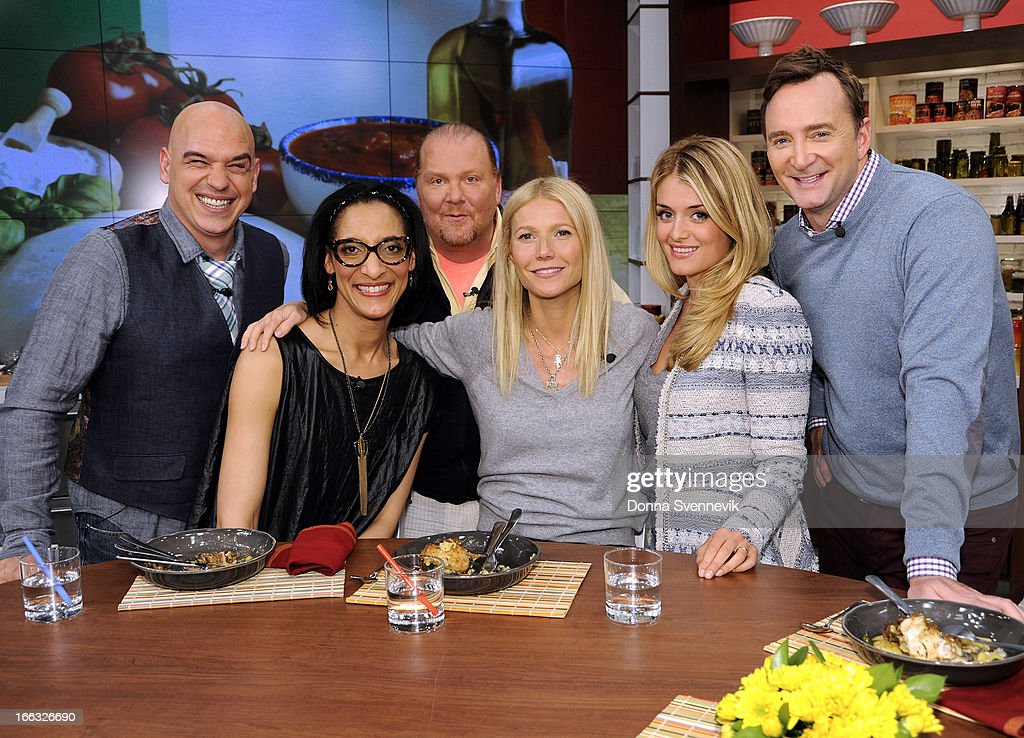 """THE CHEW - This Friday, April 12, 2013, the co-hosts welcome back film star Gwyneth Paltrow who talks about her new book, helps co-host Mario Batali whip up a tasty dish and schools him in a trivia game, """"Roamin' Holiday.' 'The Chew' airs MONDAY - FRIDAY (1-2pm, ET) on the ABC Television Network. KELLY"""