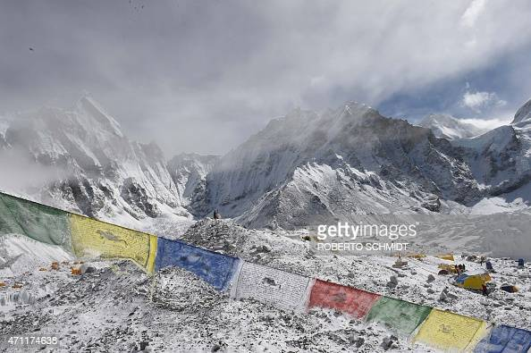 This general view shows Everest Base Camp on April 26 a day after an avalanche triggered by an earthquake devastated the camp Rescuers in Nepal are...