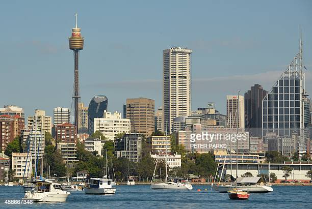 This general view shows property along the harbourfront in the central business district of Sydney on September 17 2015 Australian real estate prices...