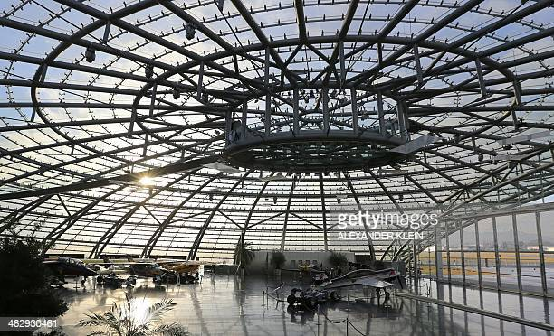 This general view shows Red Bull's 'Hangar 7' housing a collection of racing cars motorbikes and historic aircrafts of the Flying Bulls aerobatic...