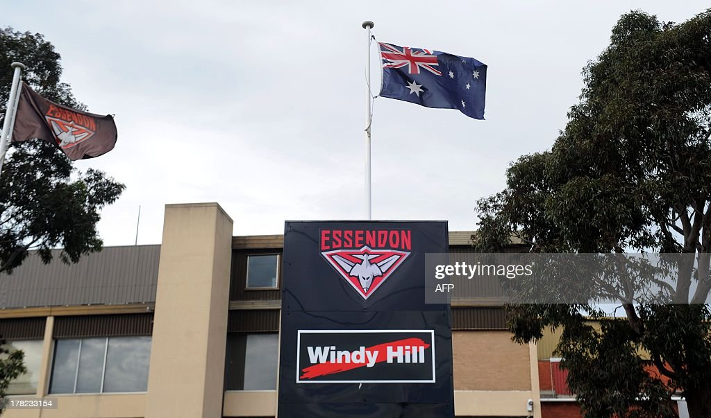 This general view shows signage outside Windy Hill, the Essendon Football Club's home ground in Melbourne, after the club accepted sanctions from the Australian Football League (AFL) on August 28, 2013. Banned Essendon coach James Hird on August 28 accepted some responsibility for a record fine slapped on the team and said it was now time to move on for the good of the game. The top AFL side was on August 27 hit with the biggest fine in the sport's history -- two million Australian dollars (1.8 million USD) -- and Hird was suspended for 12 months for bringing the game into disrepute. AFP PHOTO / Mal Fairclough