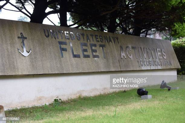 This general view shows the area near the main gate of the United States Navy Fleet Activities Yokosuka the US naval base at Yokosuka in Kanagawa...