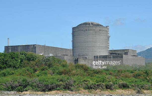 This general view shows the Bataan Nuclear Power plant in Morong town Bataan province northwest of Manila on March 17 as seen from the sea Located...