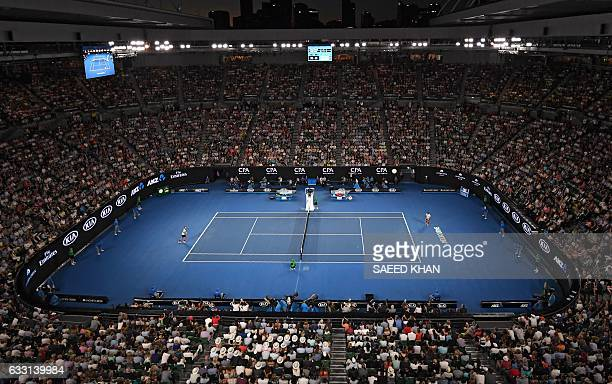 This general view shows the crowd at Rod Laver Arena as Roger Federer of Switzerland plays against Rafael Nadal of Spain in the men's singles final...