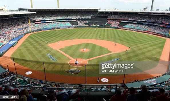 This general view shows the grandstands at the Sydney Cricket Ground as the Los Angeles Dodgers take on the Arizona Diamondbacks in their Major...