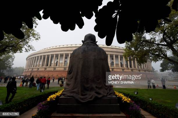 This general view shows the Indian parliament building in New Delhi on February 1 2017 India's Finance Minister Arun Jaitley was to unveil a budget...