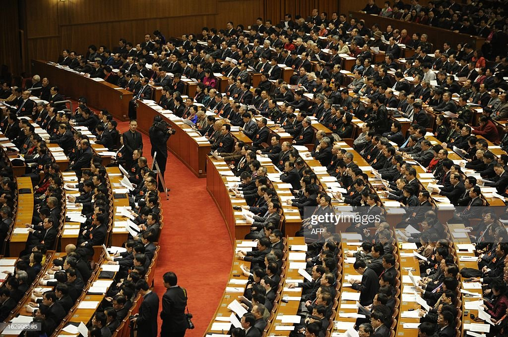 This general view shows the opening session of the Chinese People's Political Consultative Conference (CPPCC) at the Great Hall of the People in Beijing on March 3, 2013. Thousands of delegates from across China meet this week to seal a power transfer to new leaders whose first months running the Communist Party have pumped up expectations with a deluge of propaganda.