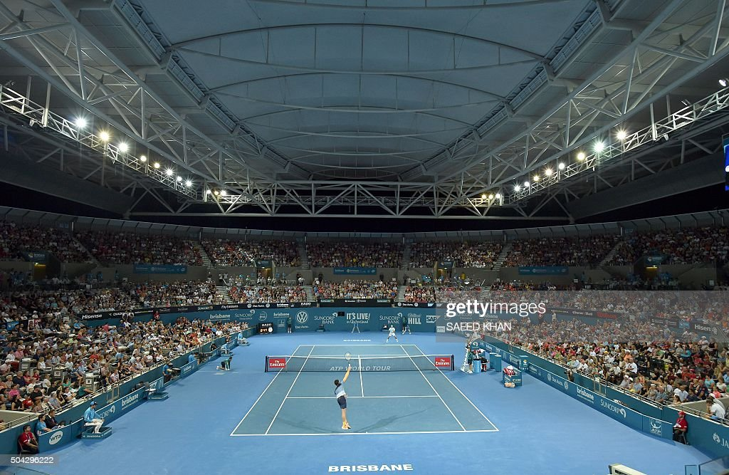 TOPSHOT This general view shows the Pat Rafter Arena as Milos Raonic of Canada serves against Roger Federer of Switzerland during the men's singles...