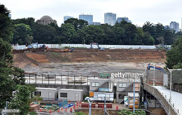 This general view shows the site where Japan's national stadium stood and planned construction site for the new national stadium for Tokyo 2020...