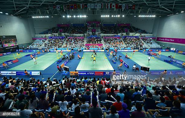 This general view taken on September 21 2014 shows the lighting setup in the badminton courts in the Gyeyang Gymnasium during the 2014 Asian Games in...