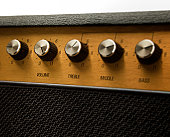Guitar amplifier with volume control set at eleven