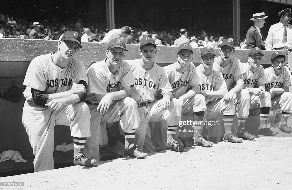 This group of Boston Red Sox players shown just before the game to play in the All-Star contest. (Left to Right) the players are: Dave Ferriss, Rudy York, Bobby Doerr, Hal Wagner, Johnny Pesky, Ted Williams, Mickey Harris and Dom DiMaggio.