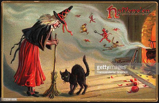 This Halloween postcard which features a witch a black cat and lots of little spirits was printed mid 1900s in New York City