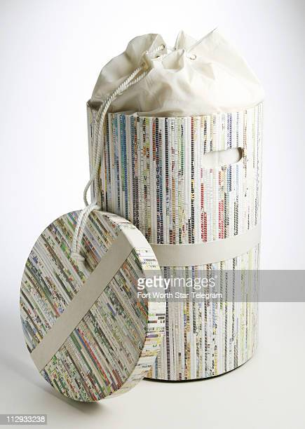 This hamper made mostly from woven recycled paper includes a cotton liner that is removable to use as a laundry bag $80 at Pier 1 stores