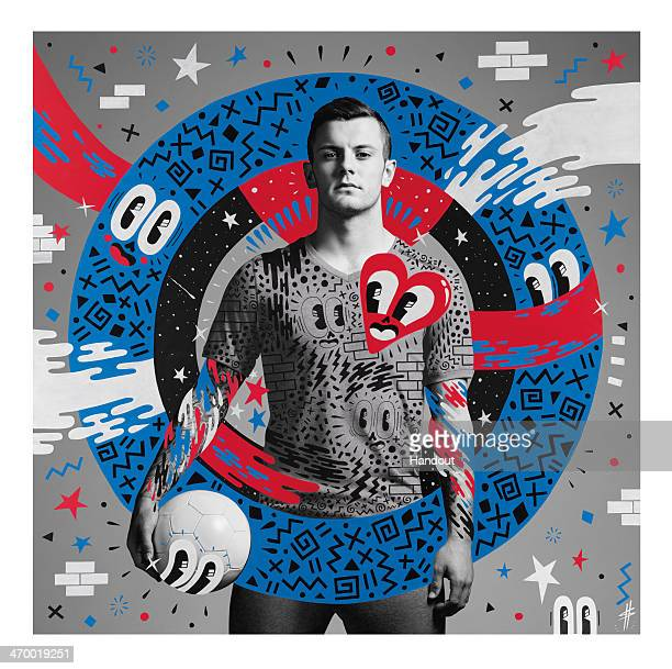 This handout composite photo provided by Pepsi on February 18 shows an artwork of Jack Wilshere created by English artist Hattie Stewart who was one...