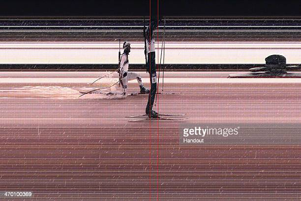 This handout image provided by Omega shows the photo finish between Emil Hegle Svendsen of Norway who won the gold medal and Martin Fourcade of...