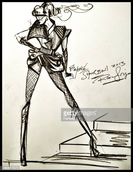 This handout image provided by Rubin Singer displays a sketch of Beyonce's Super Bowl Halftime costume as designed by Rubin Singer for her performace...