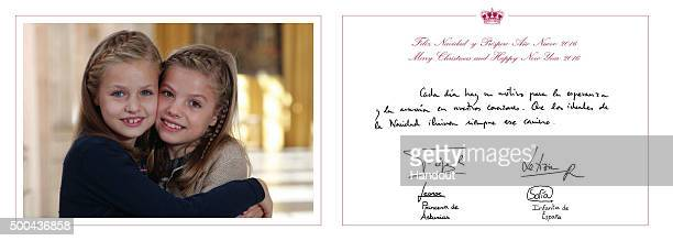 This handout image provided by the Spanish Royal Household shows the inside of the Royal Christmas Card featuring a photograph of Leonor Princess of...