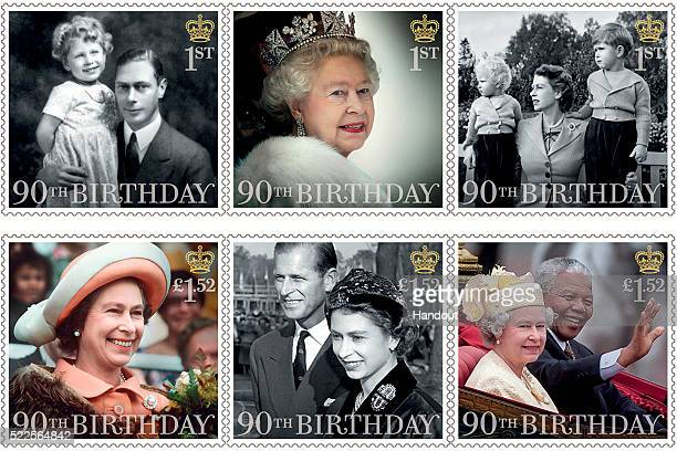This Handout image released by the Royal Mail on April 20 shows six stamps issued to mark the 90th birthday of Queen Elizabeth II including images of...