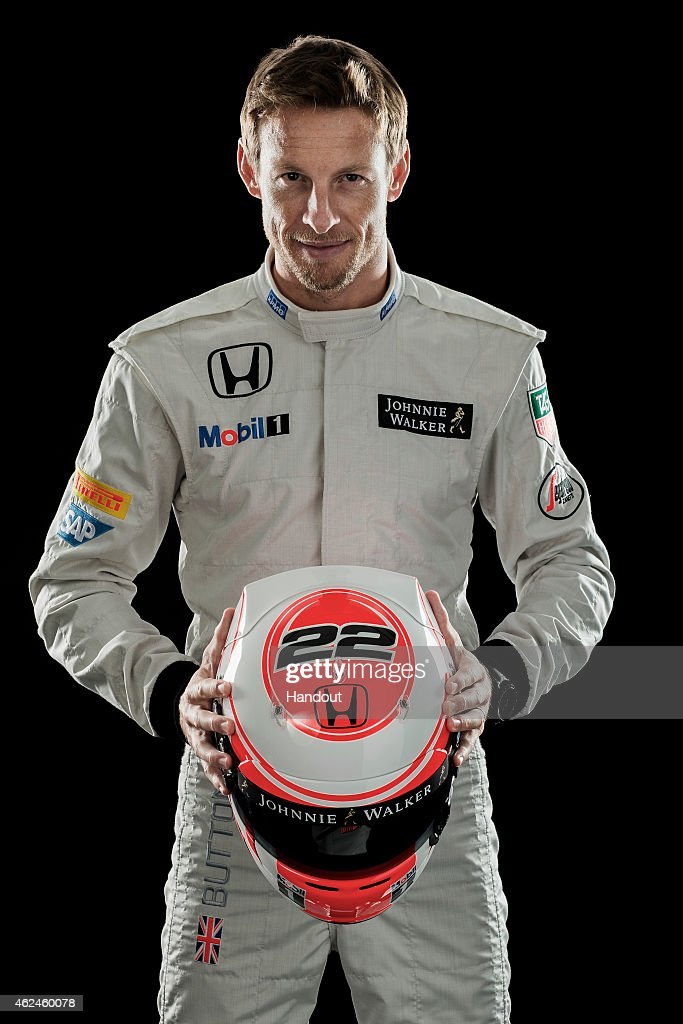 This handout image supplied by McLaren-Honda shows McLaren-Honda driver <a gi-track='captionPersonalityLinkClicked' href=/galleries/search?phrase=Jenson+Button&family=editorial&specificpeople=171505 ng-click='$event.stopPropagation()'>Jenson Button</a> during the launch of the car on January 29, 2015 in Woking, England.