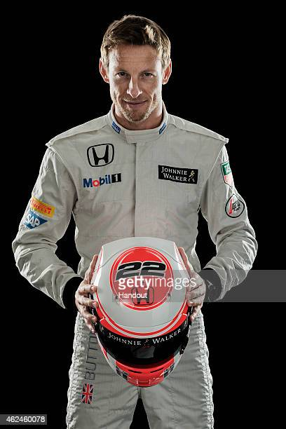 This handout image supplied by McLarenHonda shows McLarenHonda driver Jenson Button during the launch of the car on January 29 2015 in Woking England