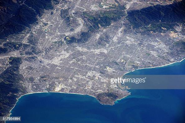 This handout image supplied by the European Space Agency shows a view of Los Angeles in an image taken by ESA astronaut Tim Peake on the...