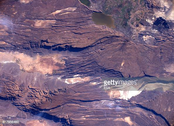 This handout image supplied by the European Space Agency shows a view of Lake Gemeri in Ethiopia in an image taken by ESA astronaut Tim Peake on the...