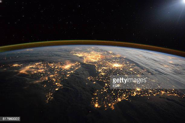 This handout image supplied by the European Space Agency shows a view looking to the East along the English Channel with the UK on the left and...