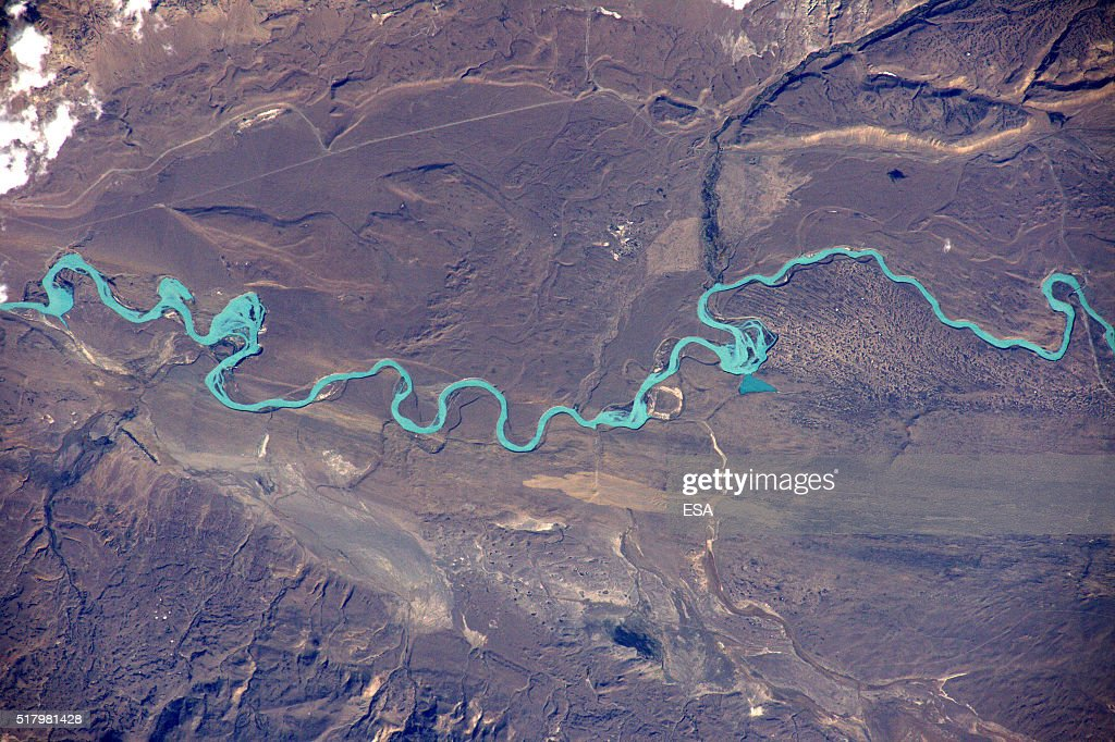 This handout image supplied by the European Space Agency (ESA), shows a view of a glacial river flowing from a Patagonian ice field, in an image taken by ESA astronaut Tim Peake on the International Space Station, March 23, 2016. ESA astronaut Tim Peake is performing more than 30 scientific experiments and taking part in numerous others from ESA's international partners during his six-month mission, named Principia, after Isaac Newtons ground-breaking Naturalis Principia Mathematica, which describes the principal laws of motion and gravity.