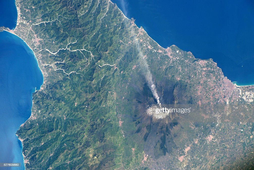 This handout image supplied by the European Space Agency (ESA), shows a view of the active volcano Mount Etna, Sicily, Italy with north to the left, in an image taken by ESA astronaut Tim Peake from the International Space Station on April 15, 2016. ESA astronaut Tim Peake is performing more than 30 scientific experiments and taking part in numerous others from ESA's international partners during his six-month mission, named Principia, after Isaac Newtons ground-breaking Naturalis Principia Mathematica, which describes the principal laws of motion and gravity.