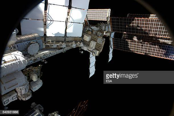 This handout image supplied by the European Space Agency shows a view out of the Soyuz TMA19M spacecraft right seat window attached to the...