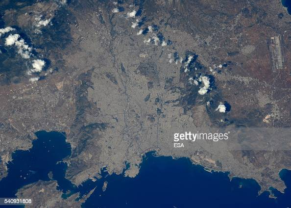 This handout image supplied by the European Space Agency shows a view of Athens Greece from the International Space Station on June 11 2016 ESA...