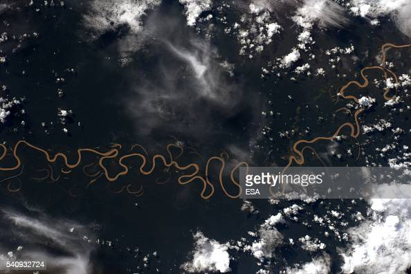 This handout image supplied by the European Space Agency shows an aerial view of the river Amazon from the International Space Station on April 6...