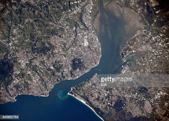 This handout image supplied by the European Space Agency shows an aerial view over Lisbon Portugal from the International Space Station on May 2 2016...