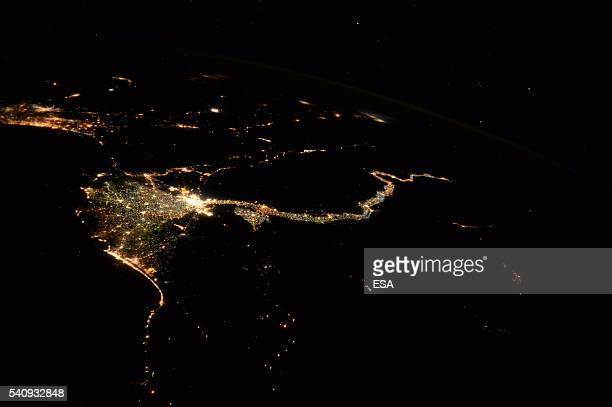 This handout image supplied by the European Space Agency shows an aerial view of lights along the River Nile stretching into the distance from Cairo...