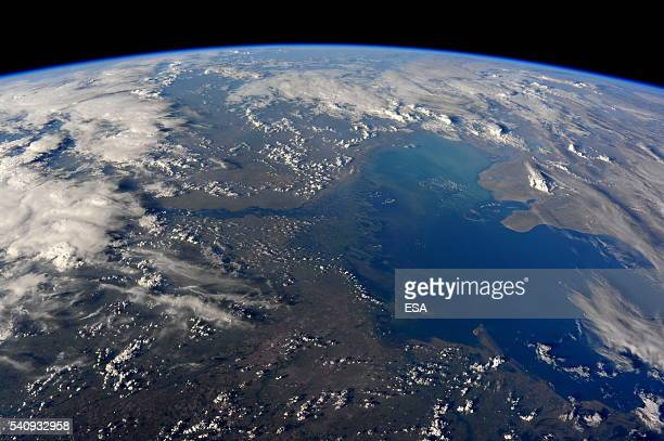 This handout image supplied by the European Space Agency shows an aerial view of the River Volga spilling out into the Caspian sea from the...