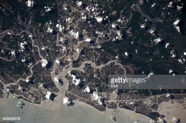 This handout image supplied by the European Space Agency shows an aerial view of the waterways of Charleston in South Carolina from the International...
