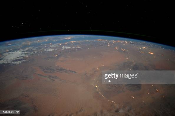 This handout image supplied by the European Space Agency shows an aerial view of the Sahara desert at night from the International Space Station on...