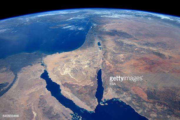 This handout image supplied by the European Space Agency shows an aerial view of Sinai and the Syrian desert from the International Space Station on...