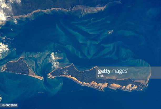 This handout image supplied by the European Space Agency shows an aerial view of the coast of Mozambique from the International Space Station on May...