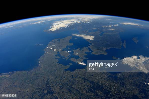 This handout image supplied by the European Space Agency shows an aerial view over Denmark Sweden and Norway from the International Space Station on...