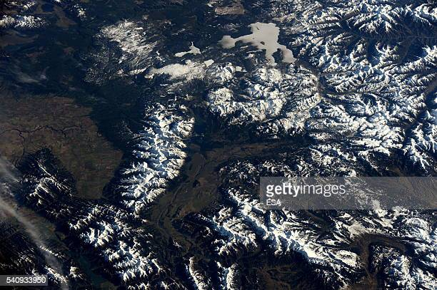 This handout image supplied by the European Space Agency shows an aerial view over the Grand Tetons and Yellowstone National Park from the...